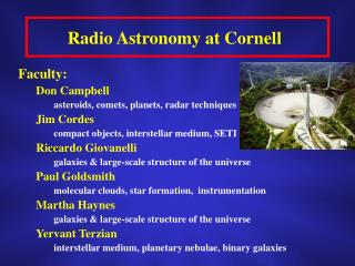 Radio Astronomy at Cornell
