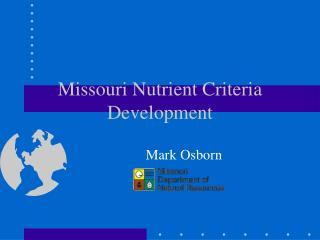 Missouri Nutrient Criteria Development