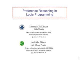 Preference Reasoning in Logic Programming