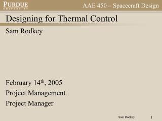 Designing for Thermal Control