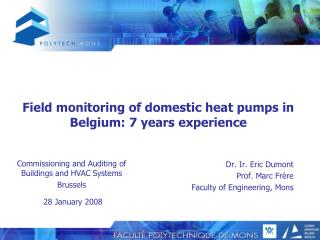 Field monitoring of domestic heat pumps in Belgium: 7 years experience