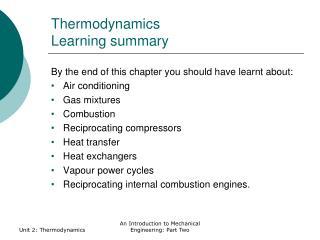 Thermodynamics Learning summary