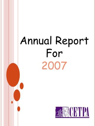 Annual Report For 2007