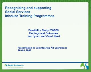 Recognising and supporting  Social Services  Inhouse Training Programmes