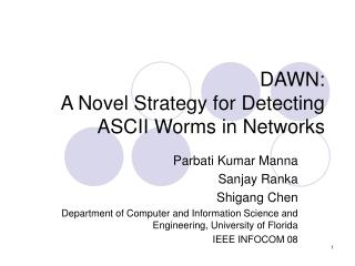 DAWN:  A Novel Strategy for Detecting ASCII Worms in Networks