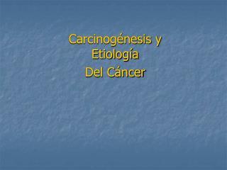 Carcinogénesis y Etiología  Del Cáncer
