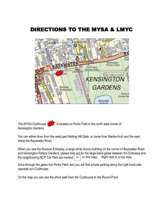 DIRECTIONS TO THE MYSA & LMYC