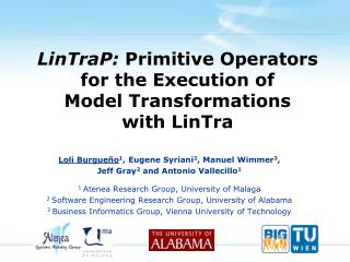 LinTraP :  Primitive  Operators for the Execution  of Model Transformations with  LinTra