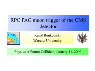 RPC PAC muon trigger of the CMS detector