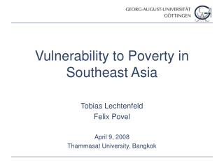 Vulnerability to Poverty in Southeast Asia