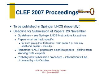 CLEF 2007 Proceedings