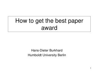 How to get the best paper award