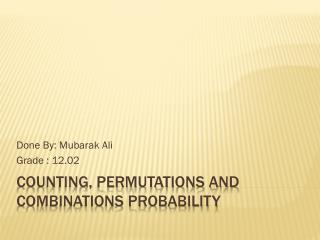 Counting, permutations and combinations probability