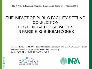 Hai Vu PHAM – IRISSO - Paris Dauphine University and UMR SADAPT – INRA