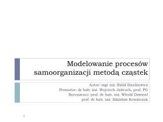 Modelowanie proces�w samoorganizacji metod? cz?stek