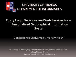 University of Piraeus  Department of Informatics