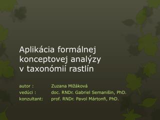 Aplikácia formálnej  konceptovej  analýzy vtaxonómií rastlín