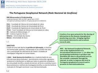 The Portuguese Geophysical Network  (Rede Nacional de Geofísica)