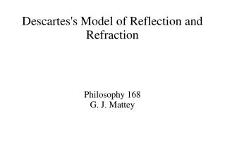 Descartes's Model of Reflection and Refraction