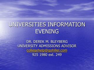 UNIVERSITIES INFORMATION EVENING