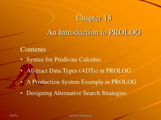 Chapter 15 An Introduction to PROLOG