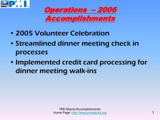Operations  – 2006 Accomplishments