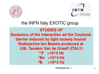 the INFN Italy EXOTIC group Milano, Napoli, Padova,  NIPNE Romania, Crakow Poland. Presented by