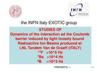 the INFN Italy EXOTIC group Milano, Napoli, Padova,  NIPNE Romania, Crakow Poland. Presented by