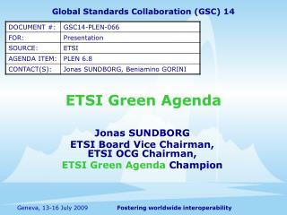 ETSI Green Agenda