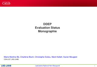 DDEP Evaluation Status Monographie