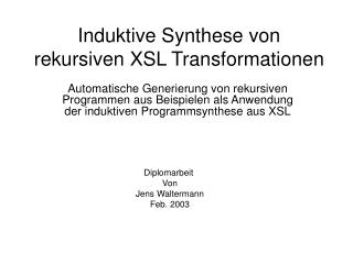 Induktive Synthese von rekursiven XSL Transformationen