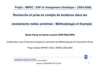 Projet «IMPEC : EDF et changement climatique» (2004-2008)