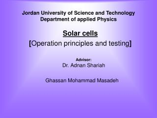 Jordan University of Science and Technology Department of applied Physics