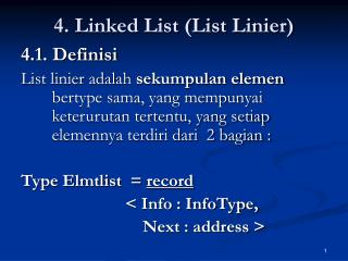 4. Linked List (List Linier)