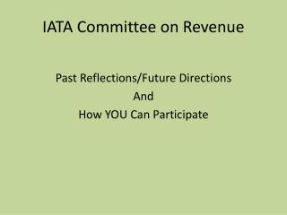 IATA Committee on Revenue