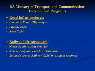 RA Ministry of Transport and Communications Development Programs