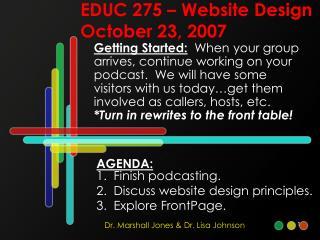 EDUC 275 – Website Design October 23, 2007