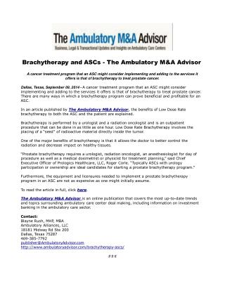Brachytherapy and ASCs - The Ambulatory M&A Advisor