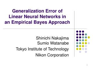 Generalization Error of  Linear Neural Networks in  an Empirical Bayes Approach