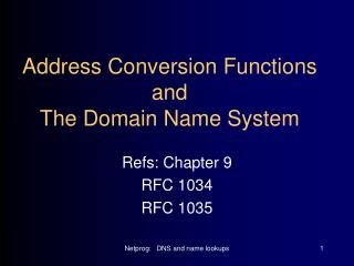 Address Conversion Functions and The Domain Name System