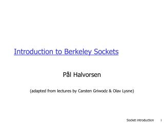 Introduction to Berkeley Sockets