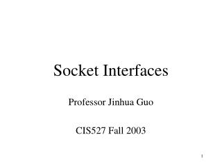 Socket Interfaces