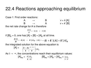 22.4 Reactions approaching equilibrium