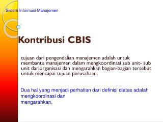 Kontribusi CBIS