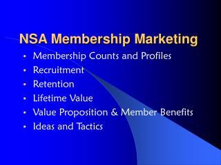 NSA Membership Marketing