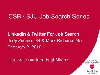 CSB / SJU Job Search Series