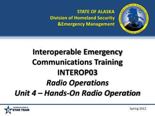 STATE OF ALASKA Division of Homeland Security &Emergency Management