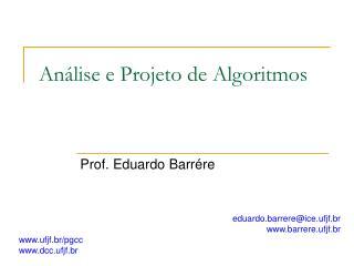 An�lise e Projeto de Algoritmos