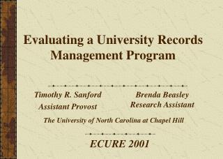 Evaluating a University Records Management Program