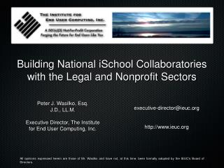 Building National iSchool Collaboratories with the Legal and Nonprofit Sectors
